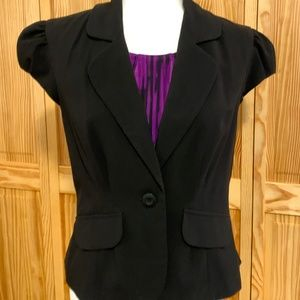 AB Studio Black One Button Cap Sleeve Jacket